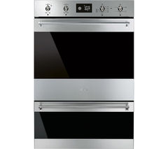 SMEG Classic DOSP6390X Electric Double Oven - Black Glass & Stainless Steel