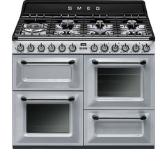 SMEG Victoria TR4110S1 110 cm Dual Fuel Range Cooker - Silver & Stainless Steel