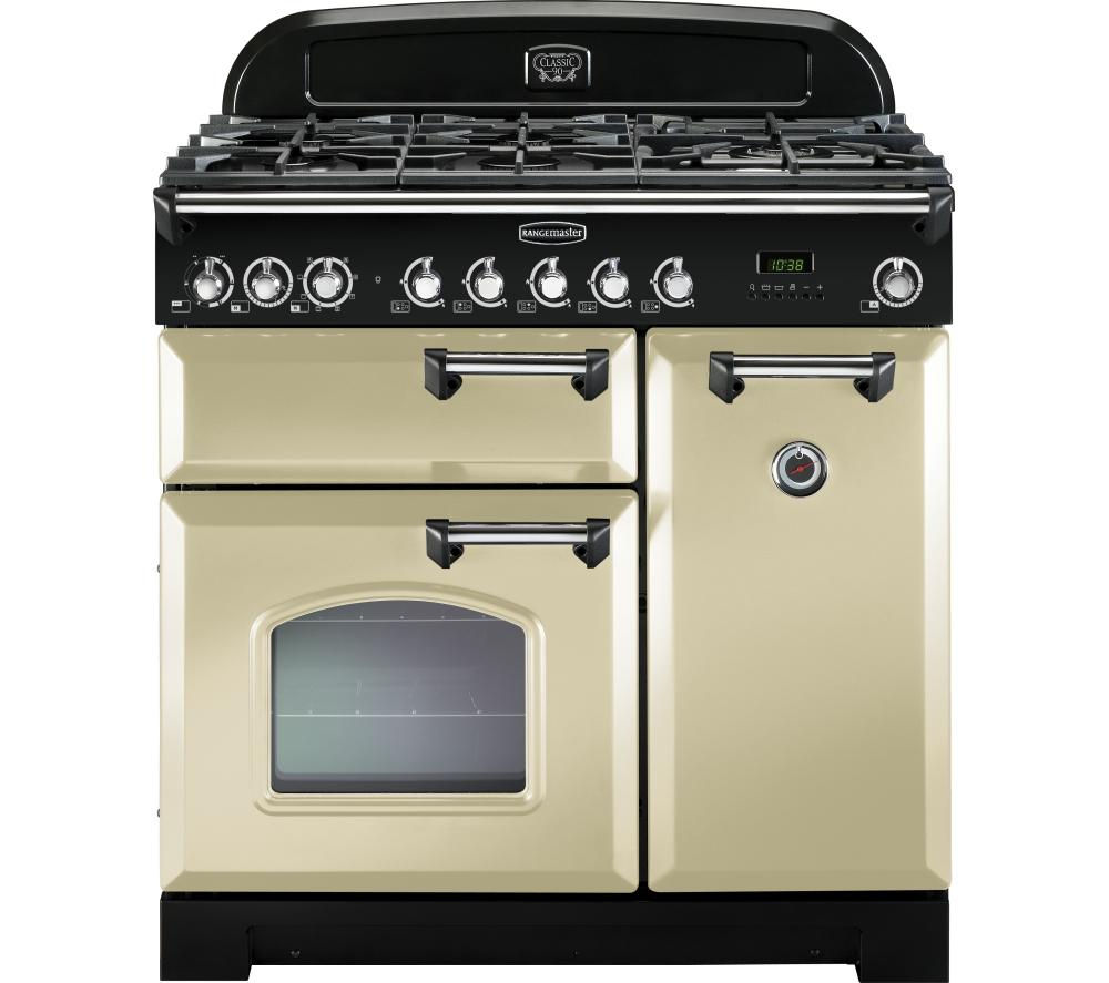 RANGEMASTER  Classic Deluxe 90 Dual Fuel Range Cooker  Cream & Chrome Cream