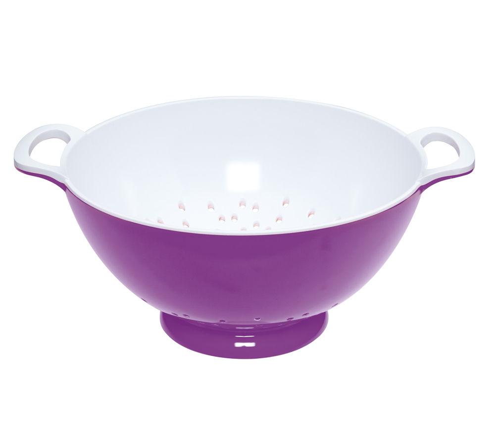 COLOURWORKS Large 24 cm Colander - Purple & White