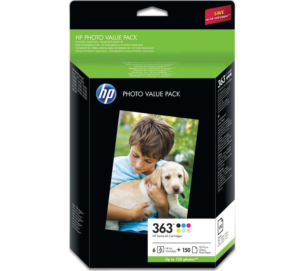 HP Photo Value Pack – 363 Colour Ink Cartridge & A6 Paper