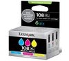 LEXMARK 108XL Cyan, Magenta & Yellow Ink Cartridges - Multipack