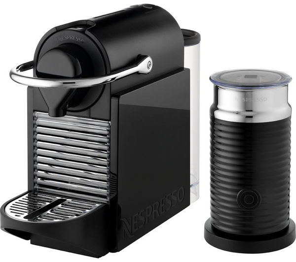 krups xn303040 nespresso pixie clips coffee machine with aeroccino black yellow. Black Bedroom Furniture Sets. Home Design Ideas