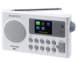 ROBERTS STREAM107W Portable DAB+ Clock Radio - White & Grey