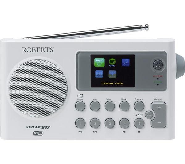 buy roberts stream 107 portable dab fm smart clock radio white grey. Black Bedroom Furniture Sets. Home Design Ideas