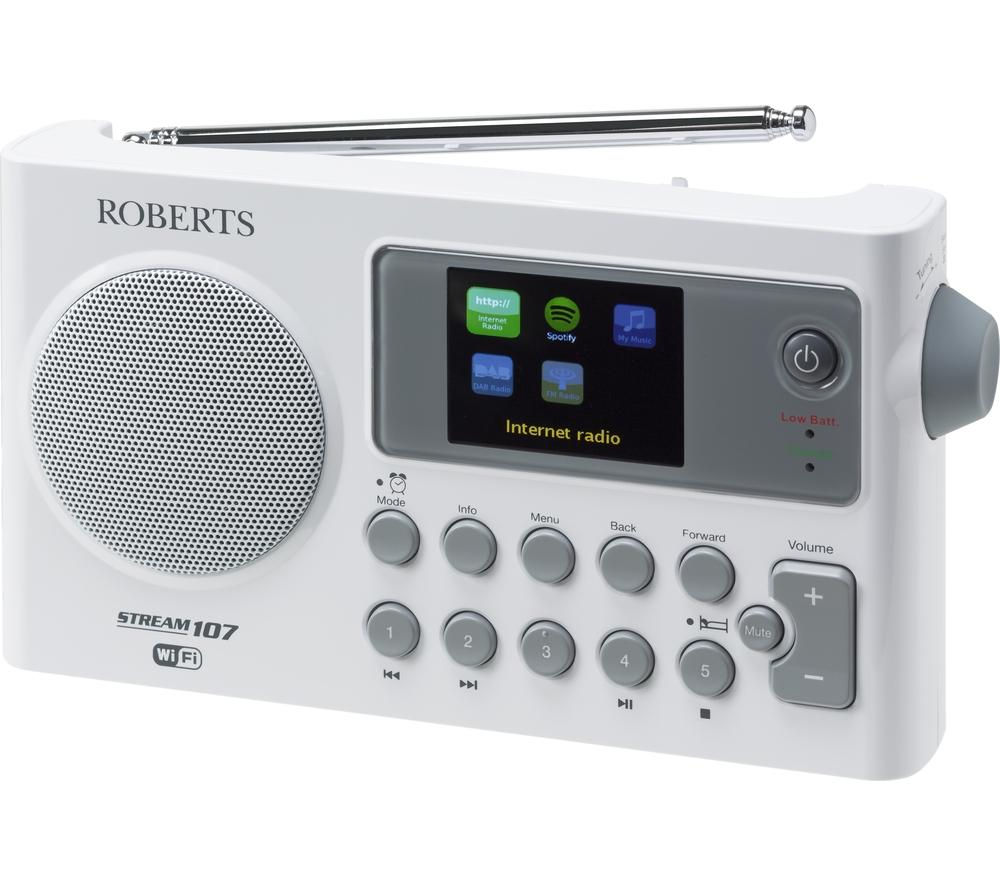 buy roberts stream 107 portable dab fm smart clock radio white grey free delivery currys. Black Bedroom Furniture Sets. Home Design Ideas