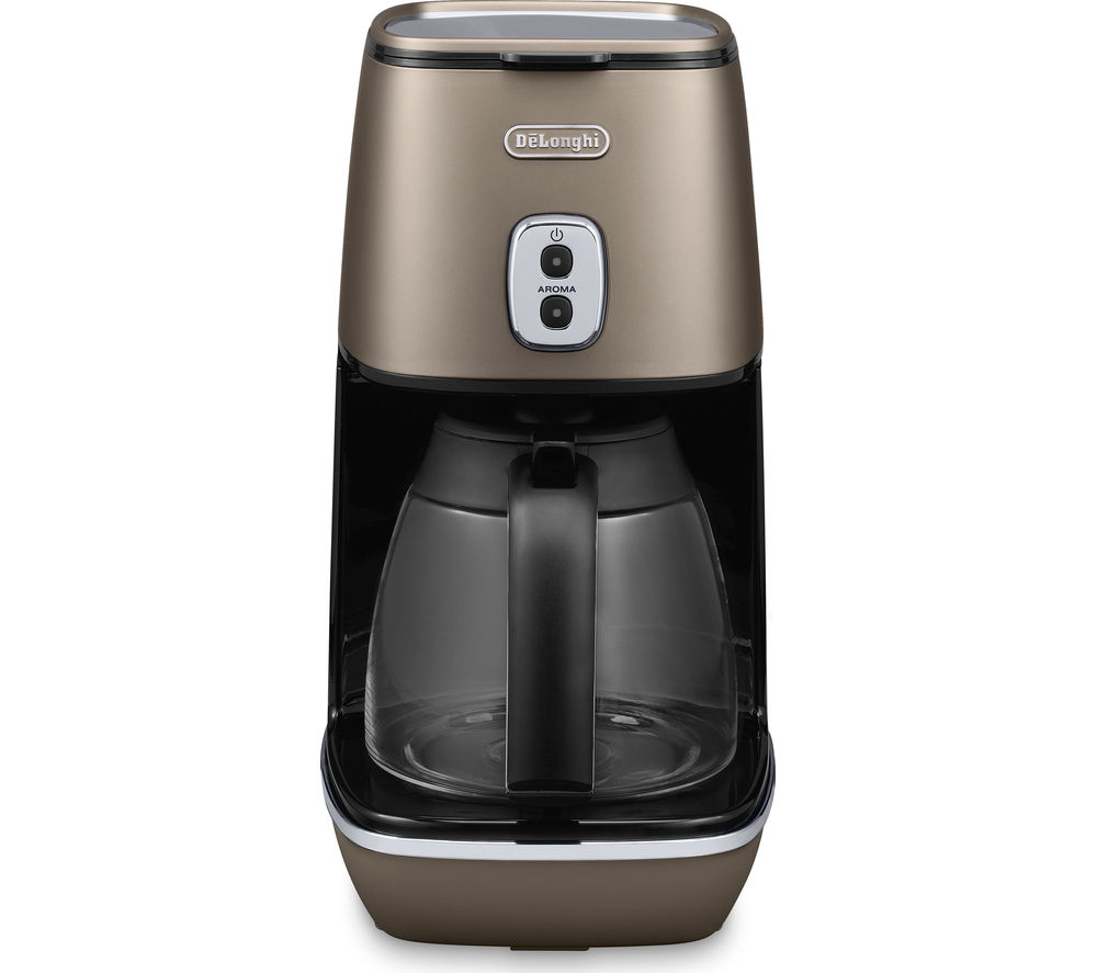 DELONGHI Distinta ICMI211.BZ Filter Coffee Maker – Bronze + Distinta CTI4003.BK 4-Slice Toaster - Bronze