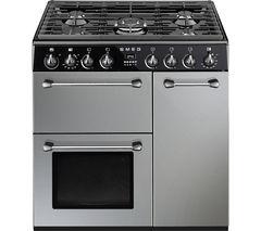 SMEG Blenheim 90 cm Dual Fuel Range Cooker - Silver & Black