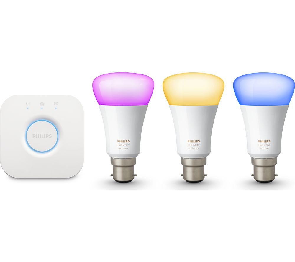philips hue colour wireless bulbs starter kit b22 deals. Black Bedroom Furniture Sets. Home Design Ideas