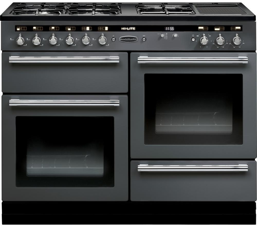 RANGEMASTER  HiLite 110 Dual Fuel Range Cooker  Slate & Chrome