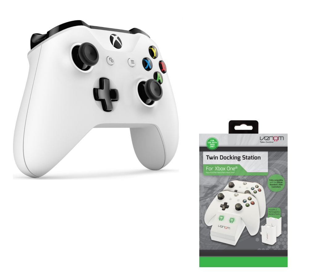 MICROSOFT Xbox Wireless Controller & VS2859 Xbox One Twin Docking Station Bundle