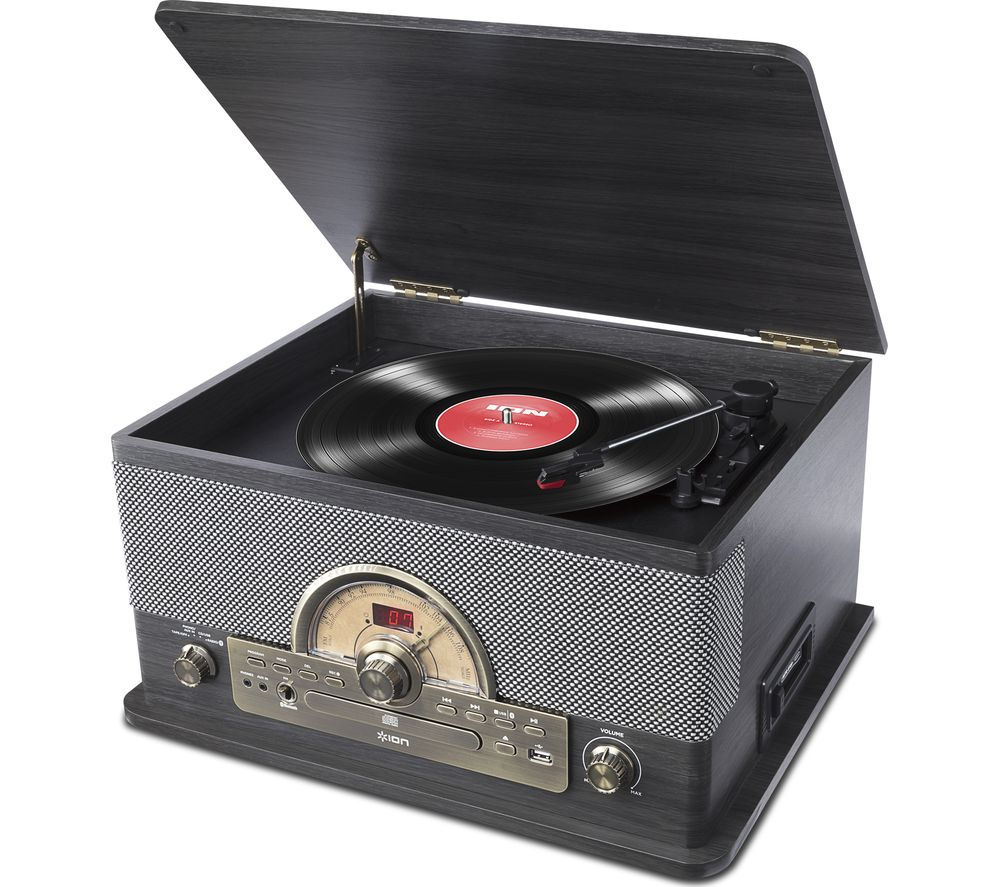 ION Superior LP Bluetooth Wireless Turntable - Black Ash