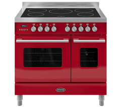 BRITANNIA RC9TIDERED Electric Induction Range Cooker - Gloss Red & Stainless Steel