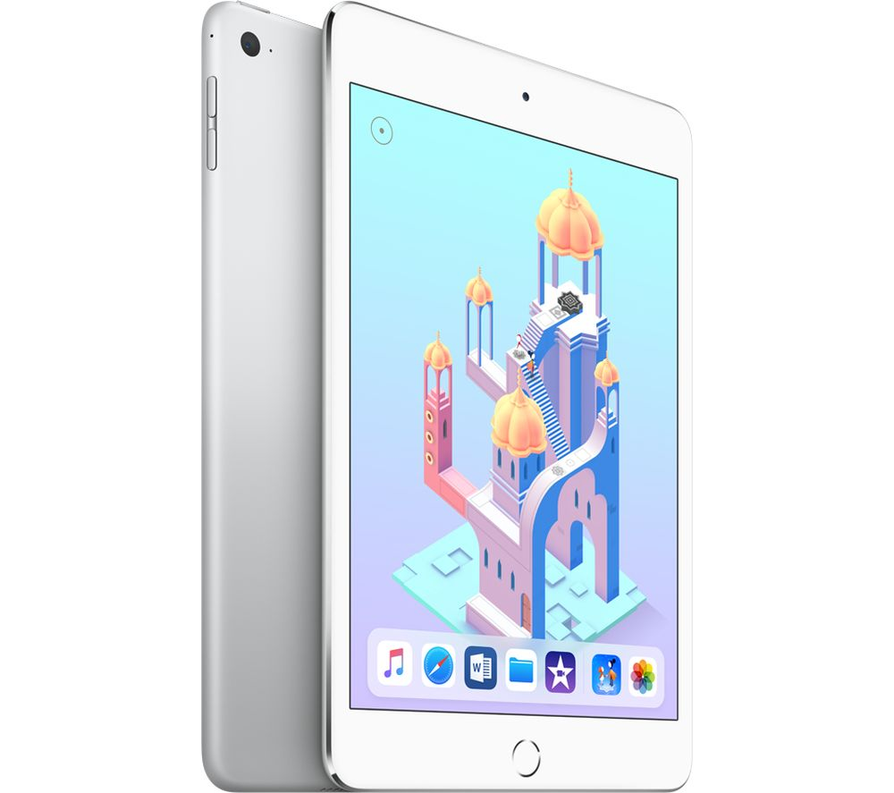 APPLE iPad mini 4 - 128 GB, Silver + Lightning AV Adapter