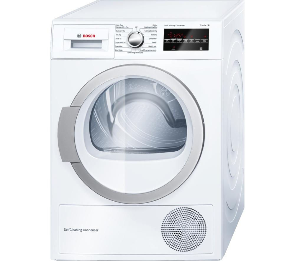 buy bosch wtw85490gb heat pump condenser tumble dryer white free delivery currys. Black Bedroom Furniture Sets. Home Design Ideas
