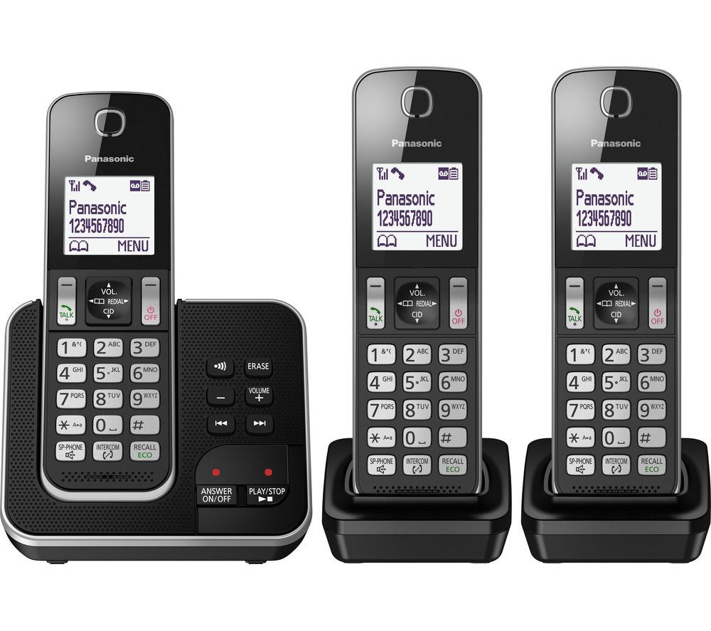 PANASONIC KX-TGD323EB Cordless Phone with Answering Machine - Triple Handsets