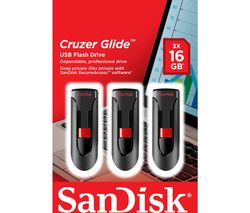 SANDISK 16 GB Cruzer Glide USB Memory Stick - Pack of 3