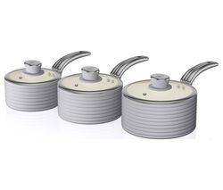 SWAN Retro SWPS3020GRN 3-piece Non-stick Saucepan Set - Grey