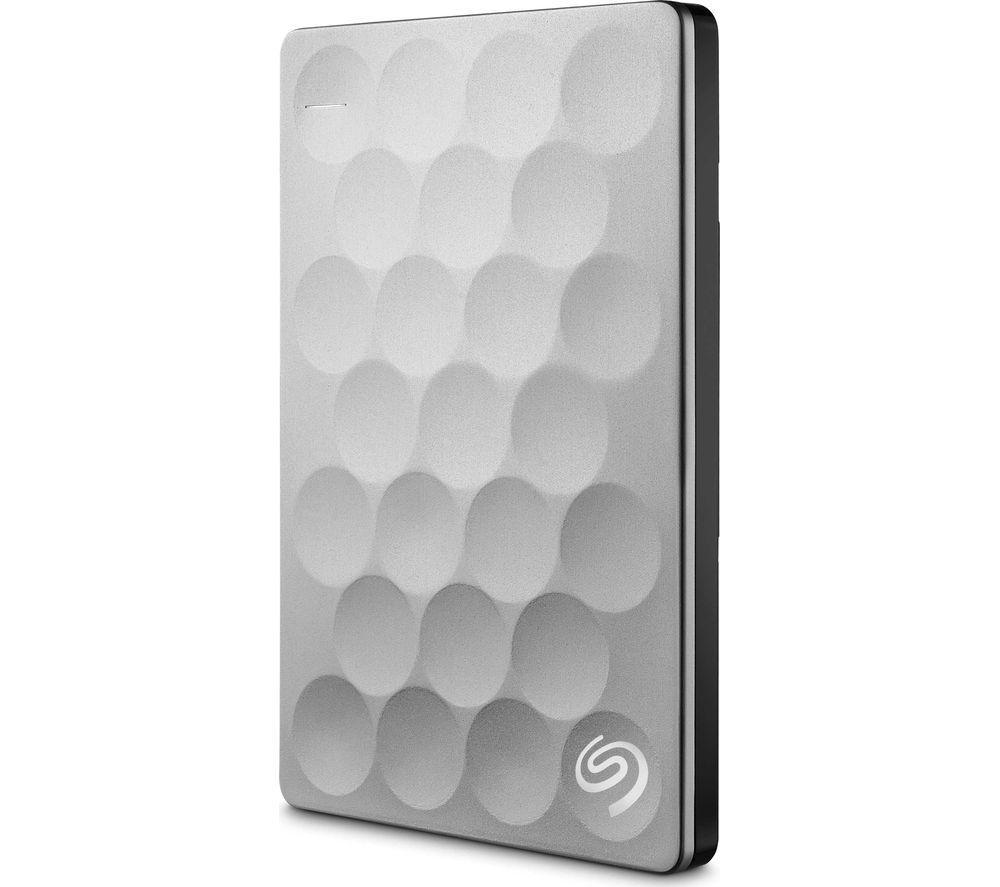 SEAGATE Backup Plus Ultra Slim Portable Hard Drive - 2 TB, Platinum