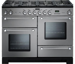 RANGEMASTER Kitchener 110 Dual Fuel Range Cooker - Stainless Steel & Chrome