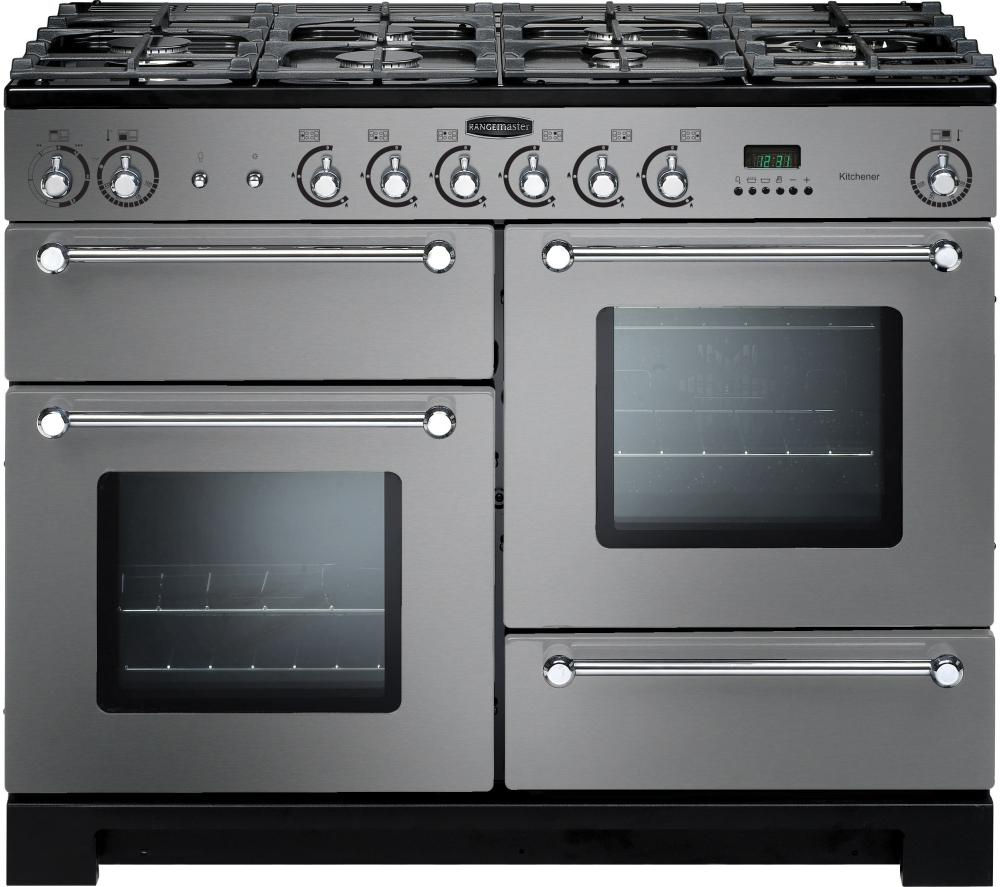RANGEMASTER Kitchener 110 Dual Fuel Range Cooker - Stainless Steel & Chrome