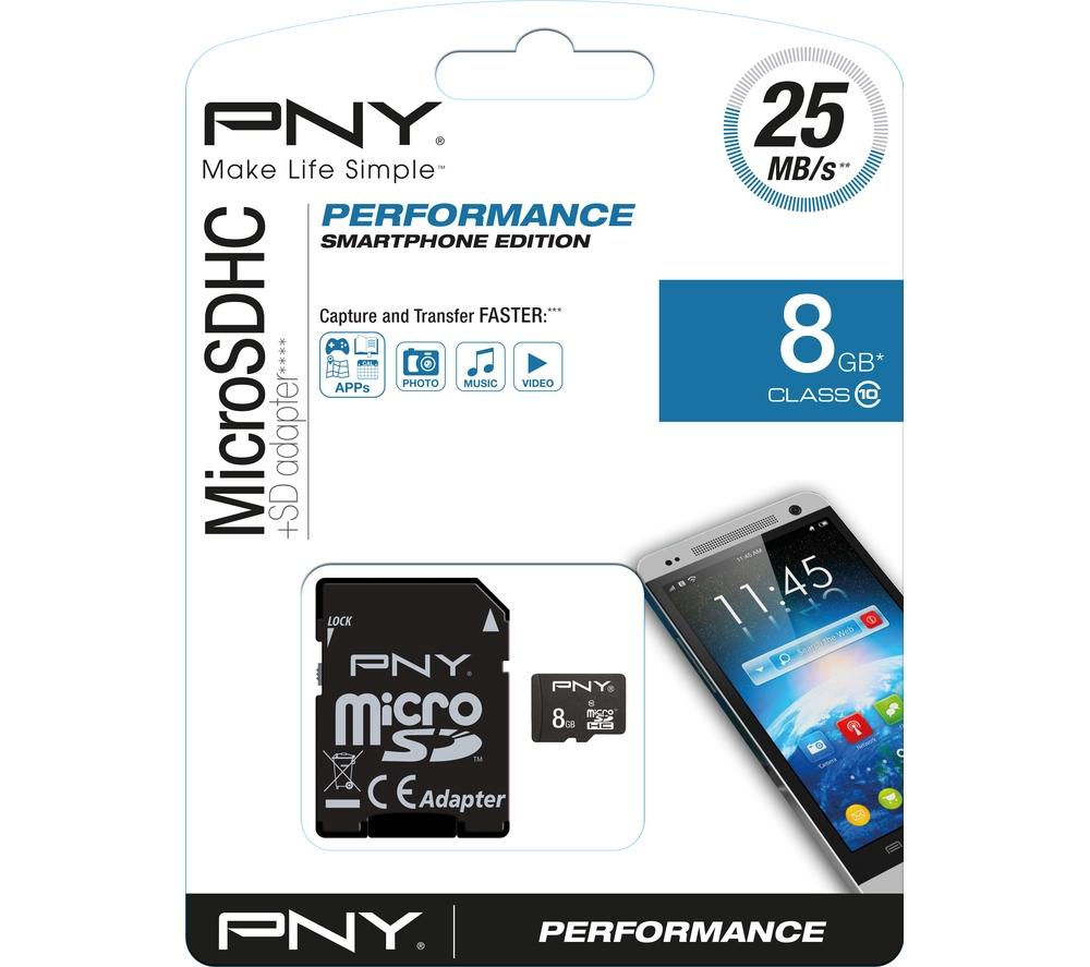 PNY Performance Class 10 microSD Memory Card - 8 GB
