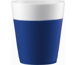 BODUM Bistro Porcelain Mug with Silicone Band - Blue, Pack of 2