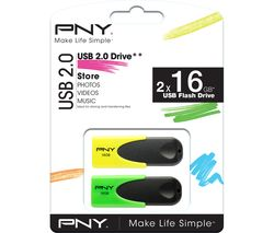 PNY N1 Attaché USB Memory Stick - 16 GB, Twin Pack