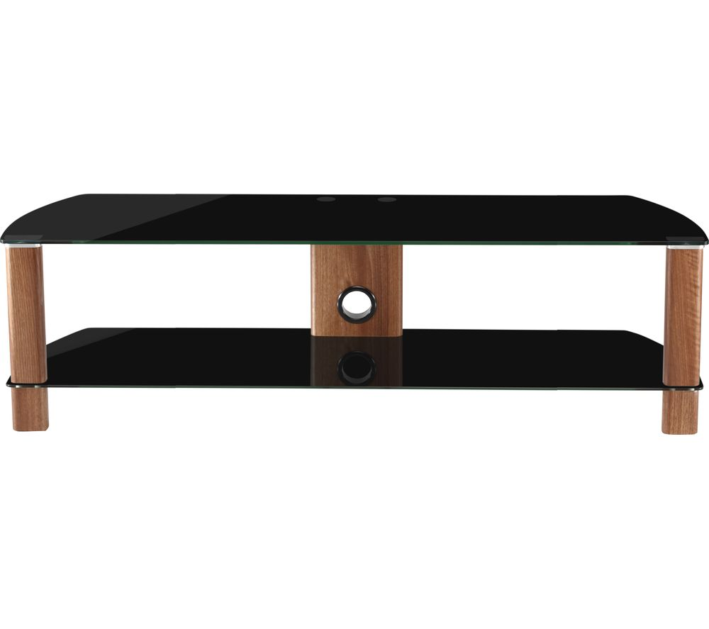 ALPHASON  Century 1500 TV Stand  Walnut & Black Glass Black