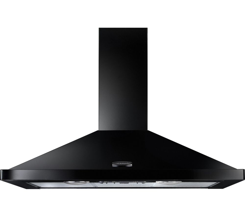 RANGEMASTER  LEIHDC110BC Chimney Cooker Hood  Black & Chrome Black