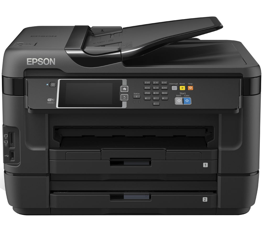 EPSON Workforce WF-7620 DTWF All-in-One Wireless A3 Inkjet Printer with Fax + Alarm Clock 27 Cyan, Magenta & Yellow Ink Cartridges - Multipack + A4 Premium Black Label Paper - 500 Sheets