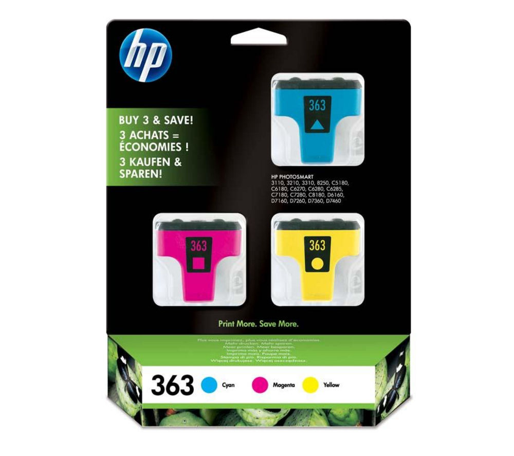 HP 363 Cyan, Magenta & Yellow Ink Cartridges - Multipack
