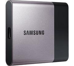 SAMSUNG T3 External SSD - 1 TB, Silver & Black