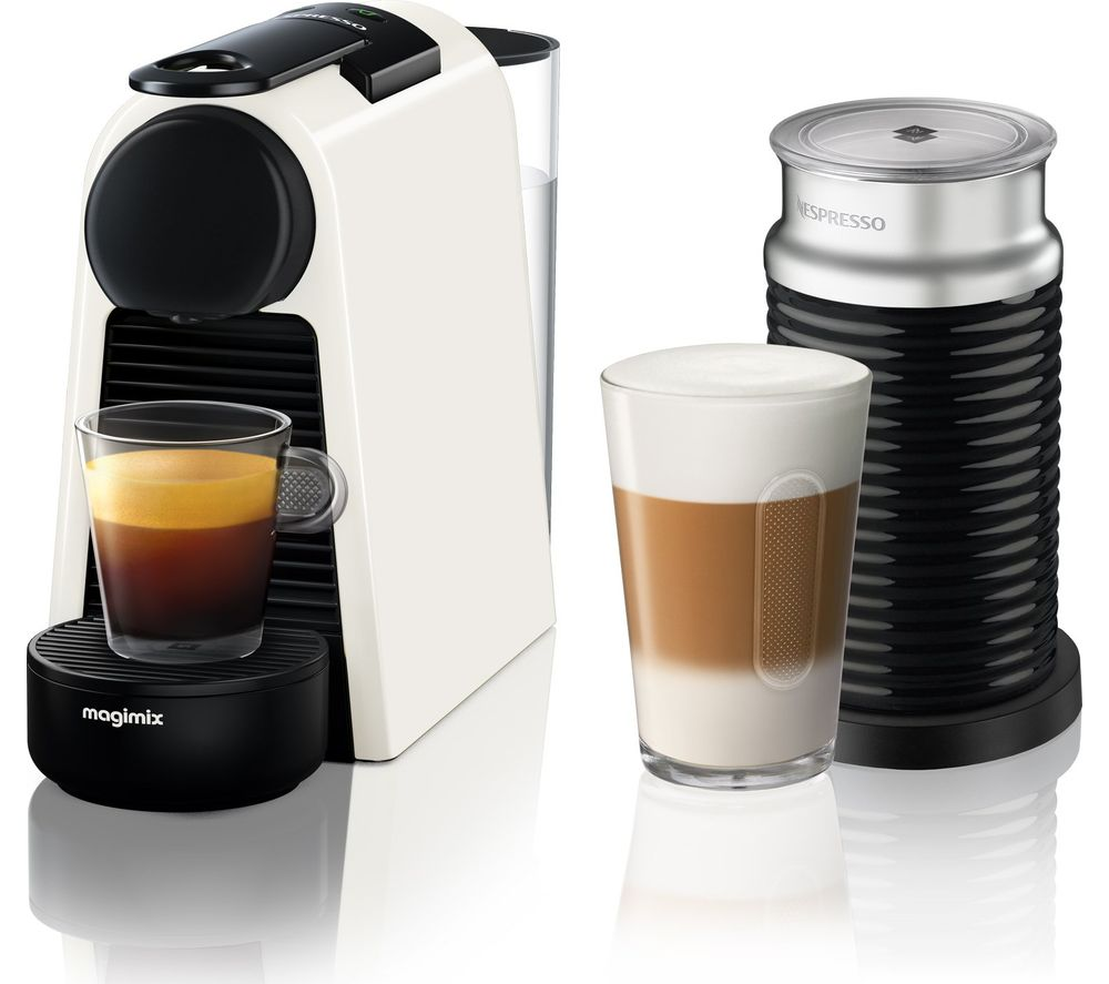 Buy nespresso by magimix essenza mini coffee machine with aeroccino pure wh - Machine nespresso 2 tasses ...