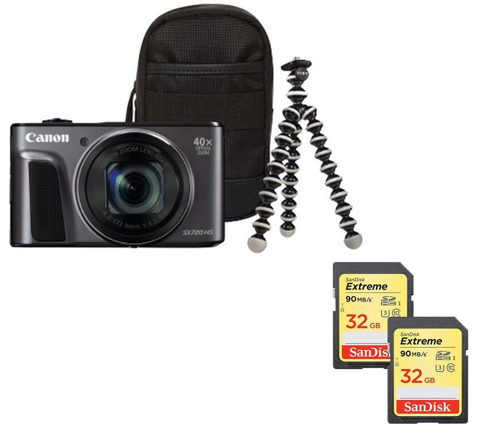 Canon Canon PowerShot SX720 HS Superzoom Compact Camera, Memory Cards & Travel Kit Bundle