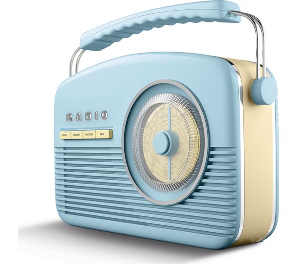 buy akai portable dab fm retro bluetooth radio blue. Black Bedroom Furniture Sets. Home Design Ideas
