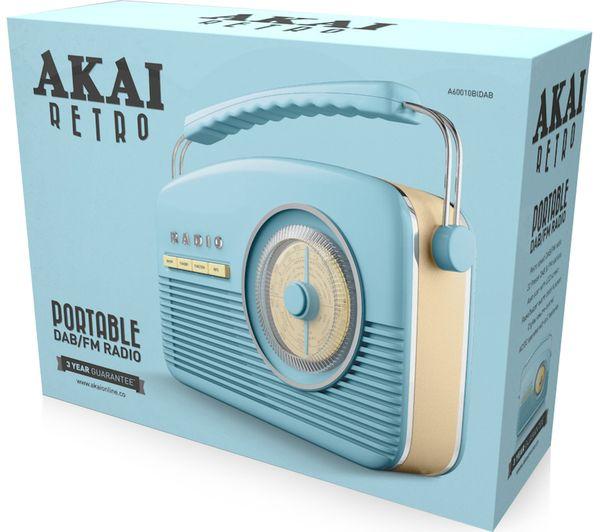 buy akai portable dab fm retro bluetooth radio blue free delivery currys. Black Bedroom Furniture Sets. Home Design Ideas
