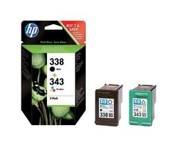HP 338/343 Tri-colour & Black Ink Cartridges - Twin Pack