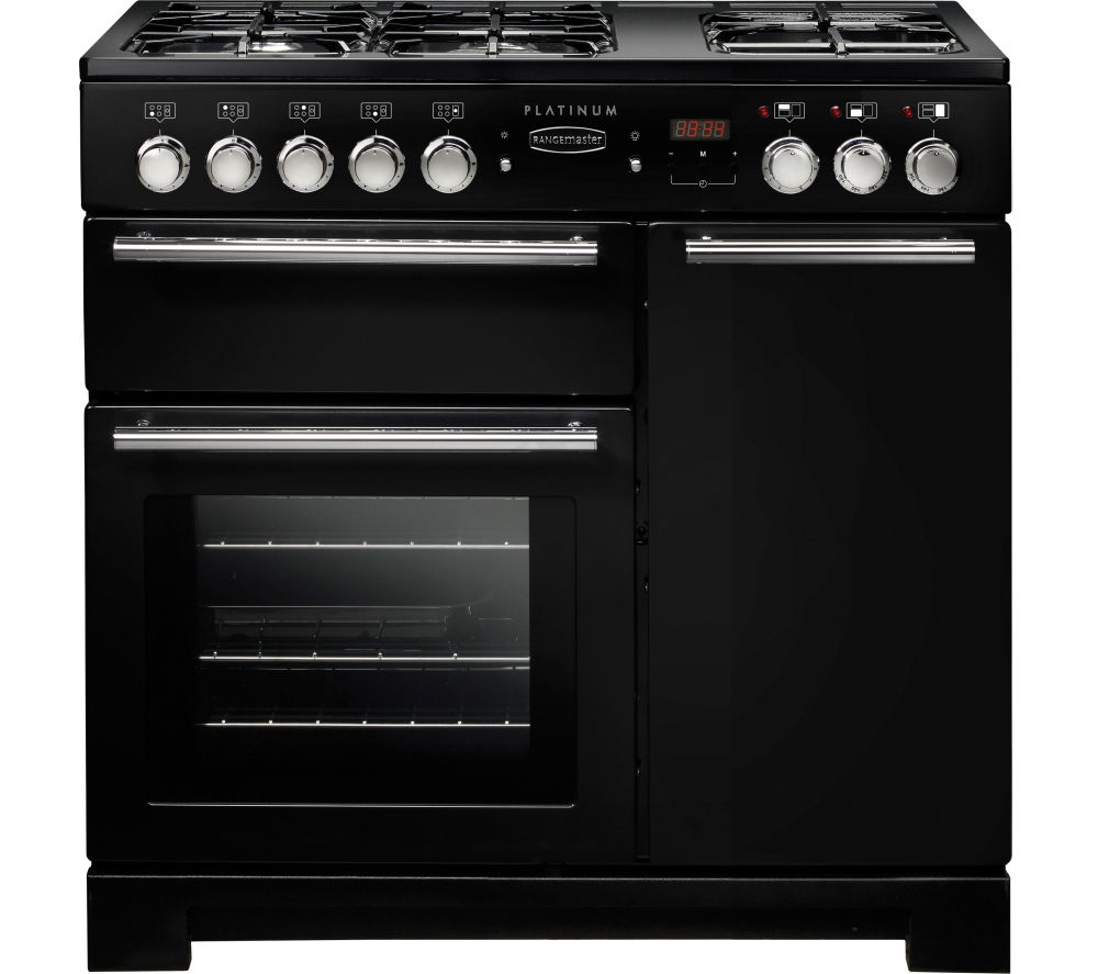 RANGEMASTER Platinum 90 Dual Fuel Range Cooker - Black & Chrome