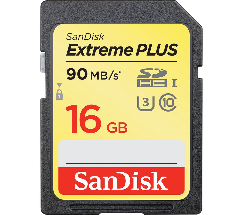 sandisk extreme plus class 10 sd memory card 16 gb deals pc world. Black Bedroom Furniture Sets. Home Design Ideas