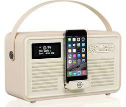 VQ Retro Mk II Portable DAB+/FM Bluetooth Clock Radio - Cream