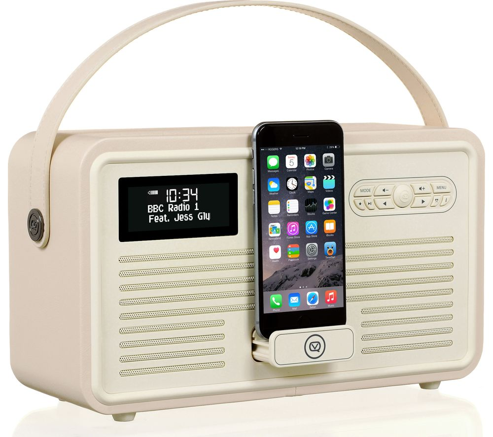 VQ  Retro Mk II Portable DABﱓ Bluetooth Clock Radio - Cream, Cream.