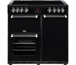 BELLING Kensington 90E Electric Ceramic Range Cooker - Black & Chrome