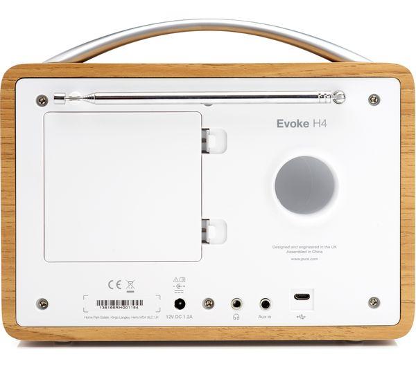 buy pure evoke h4 portable dab fm bluetooth clock radio oak free delivery currys. Black Bedroom Furniture Sets. Home Design Ideas