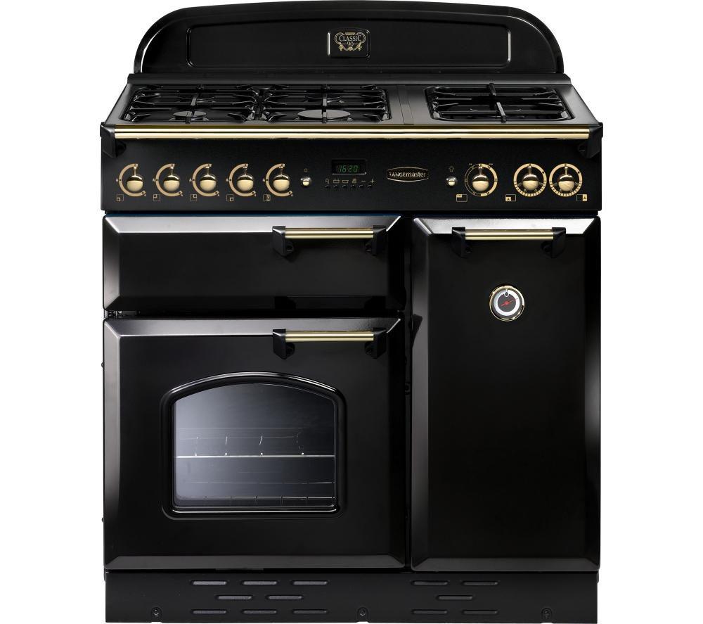 RANGEMASTER Classic 90 Gas Range Cooker - Black & Brass