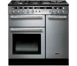 RANGEMASTER Hi-LITE 90 Dual Fuel Range Cooker - Stainless Steel & Chrome