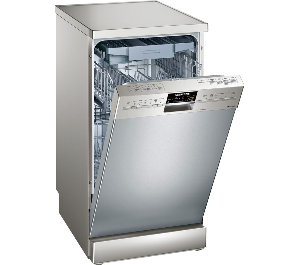 buy siemens iq500 sr26t891gb slimline dishwasher silver free delivery currys. Black Bedroom Furniture Sets. Home Design Ideas