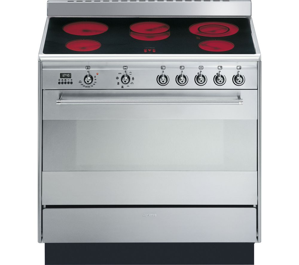 SMEG Concert 90 cm Electric Ceramic Range Cooker  Stainless Steel Stainless Steel