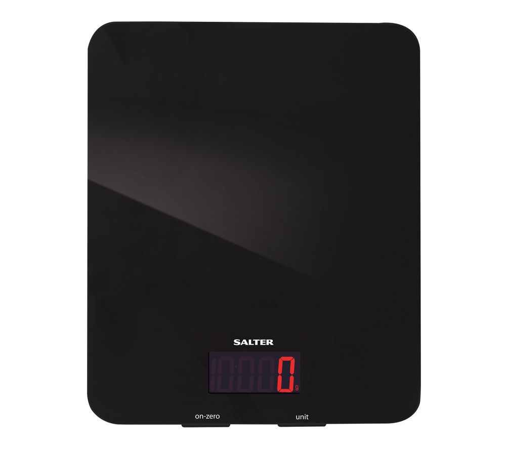 SALTER  Black Glass Digital Kitchen Scales Black