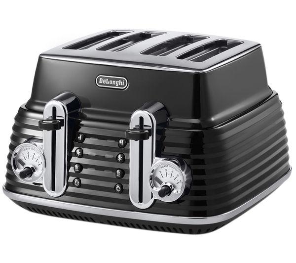 buy delonghi scultura ctz4003bk 4 slice toaster black free delivery currys. Black Bedroom Furniture Sets. Home Design Ideas